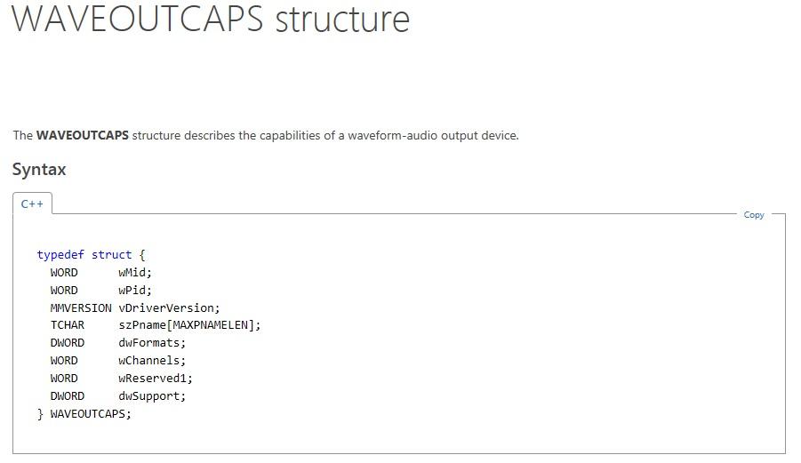 waveOutCapsStructure